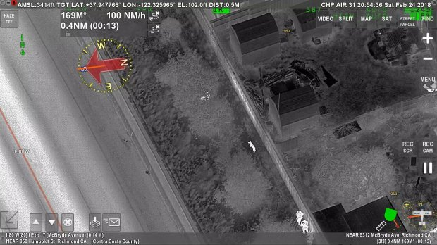 The California Highway Patrol shared this image Sunday, Feb. 25, 2018 of a CHP Golden Gate Division Air Operations helicopter's search of a McBryde Avenue neighborhood Saturday night.