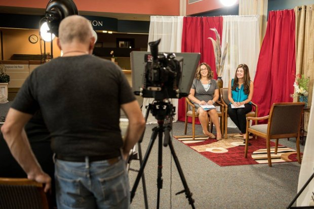 """Larry Hunt, left, who generates Pleasant Hill's City Channel programming, works on an episode of """"Inside Pleasant Hill"""" with co-hosts Emily Richards and Jennifer Ortega. (Courtesy of Larry Hunt)"""
