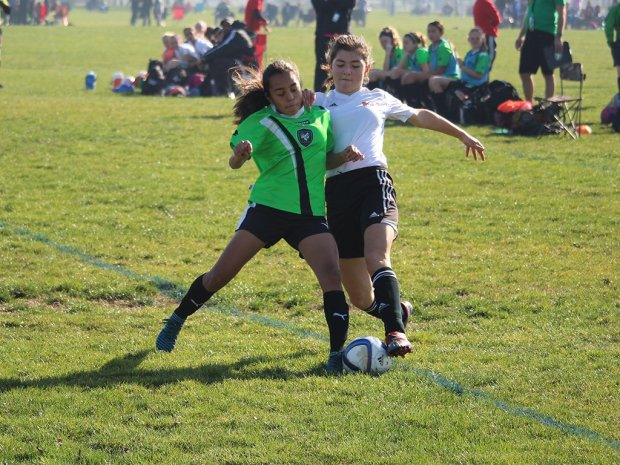 WCS Krossfire 06G defender Adriana Paneda stops a Mill Valley scoring opportunity.