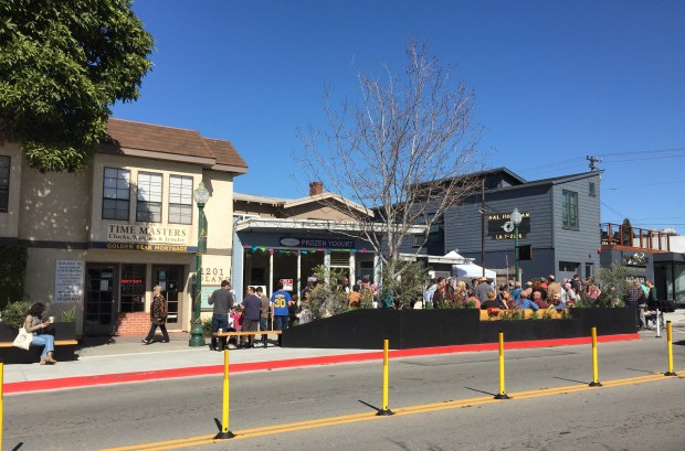 The nation's first bus stop parklet is up and running in the 1200 block of Solano Avenue in Albany. (Jennifer Modenessi/For Bay Area News Group)