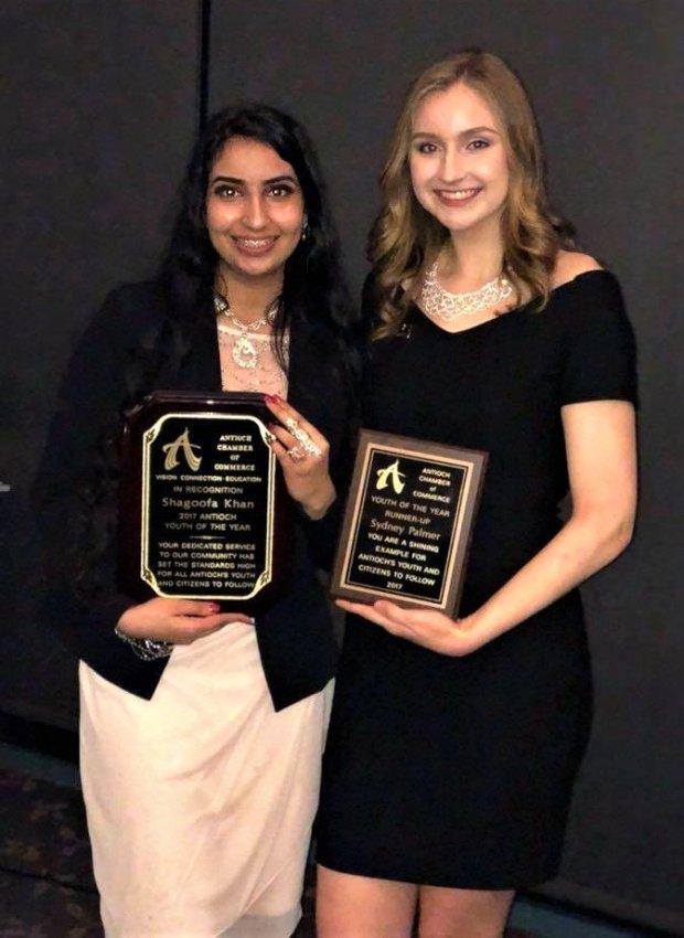 Shagoofa Khan of Dozier-Libbey Medical High School and Sydney Palmer ofAntioch High School earned Youth of the Year awards. (Courtesy Tracey Palmer )