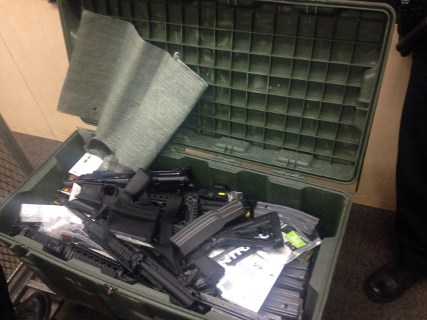 Alameda police found and seized these firearms and ammunition March 5 at a home on Central Avenue and took the resident into custody. (Alameda Police Department)