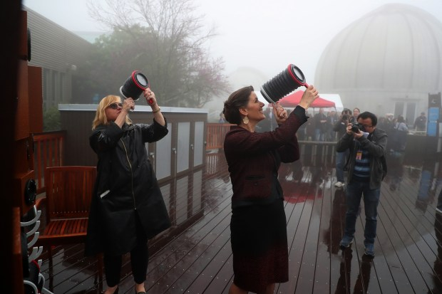 Oakland Mayor Libby Schaaf, center, tours the new outdoor environmental education deck at the Chabot Space & Science Center on March 21 in Oakland. (Aric Crabb/Bay Area News Group)