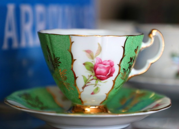 A vintage cup and saucer are photographed at the Dress Best for Less store on Lakeshore Avenue store on March 28 in Oakland. (Aric Crabb/Bay Area News Group)