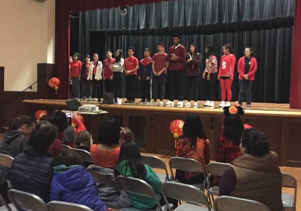 Students perform as part of the Piedmont Asian American Club's Lunar New Year celebration. (Jennifer Modenessi/For Bay Area News Group)