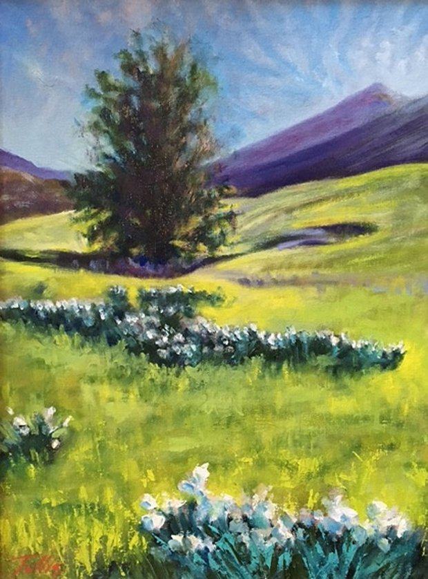 """Diablo Daffodils,"" an oil painting by John Tullis, is part of the SuburbanSketchers Plein Air Exhibit at the Brentwood Community Center, May 4 through June 29. (Courtesy John Tullis)"