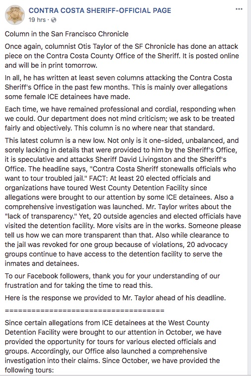 A screenshot of a Facebook post by the Contra Costa Sheriff's official page, responding to a column that appeared in the San Francisco Chronicle.