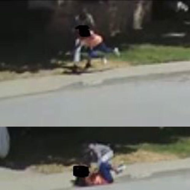 Fremont police released this image Thursday, May 17, 2018 of a suspect attacking and injuring a victim in a May 8 chain-snatch robbery at 1:40 p.m. May 8 in the 4100 block of Alder Avenue near Oliveira Elementary School. The images were captured by a resident's surveillance-camera security system, police said.