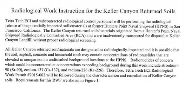 "A screenshot of a August 2015 Final Work Plan document from the Navy that identifies soil shipped to Keller Canyon that came from a ""radiologically controlled area."""