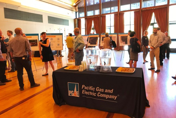 PG&E held an open house at the Veterans Memorial Center in Lafayette on May 9, 2018, to explain its pipeline tree removal project. (Jon Kawamoto/Bay Area News Group)