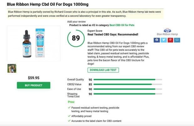 Blue Ribbon Hemp CBD Oil for Dogs 1000mg