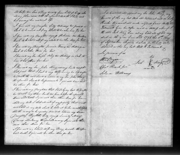 Will of Joel King, 1799 - Craven County p2