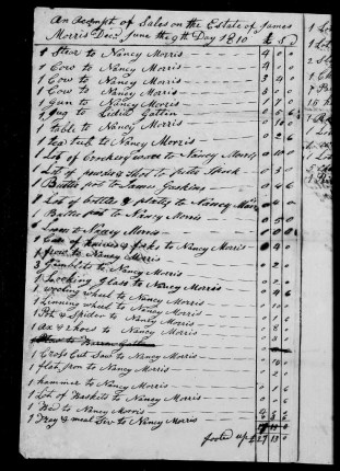 p3 of Estate Records of James MORRIS, Craven County (1811)