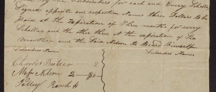 """Swift Creek residents hire Turner Nelson as teacher of """"Reading writing and Arithmetic"""" in 1823"""