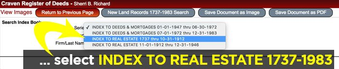 Select INDEX TO REAL ESTATE 1737-1983