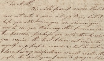 David K. Roach sends a letter to his mother in Swift Creek from Fort Hawkins, Jones County, Georgia