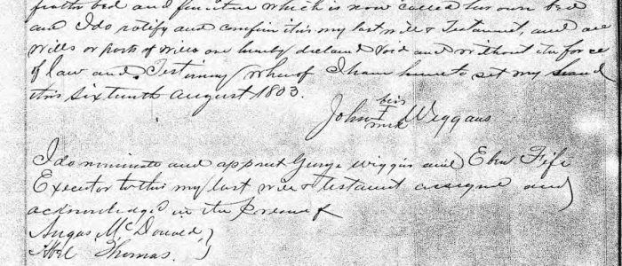 Will of John Wiggins of Craven County (1803)