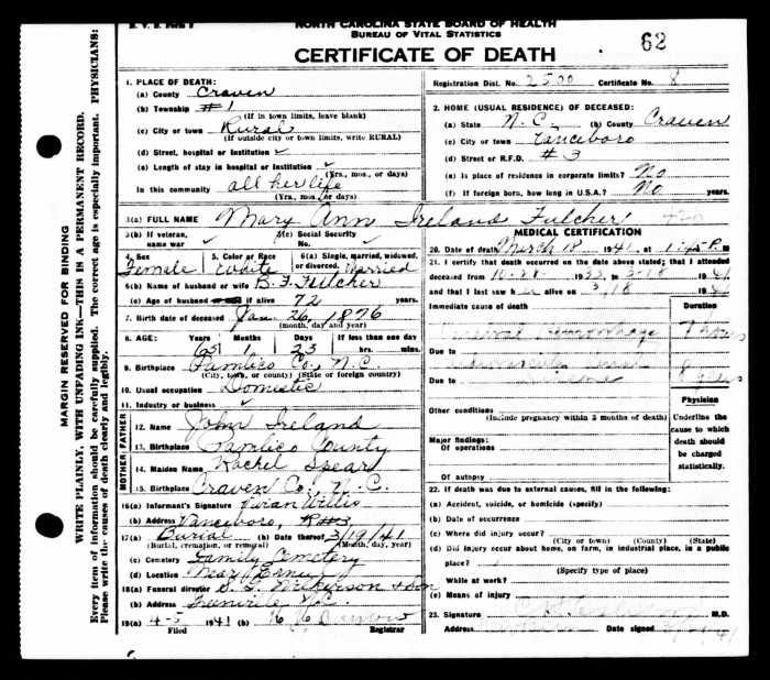 Mary Ann Ireland was born Jan. 26, 1876.