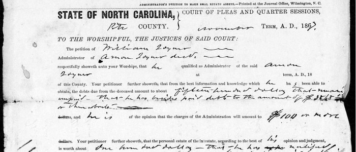Select items from the estate records of Amon Joyner of Pitt County