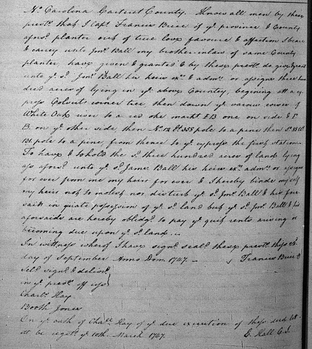Francis Brice to James Ball Deed of Gift
