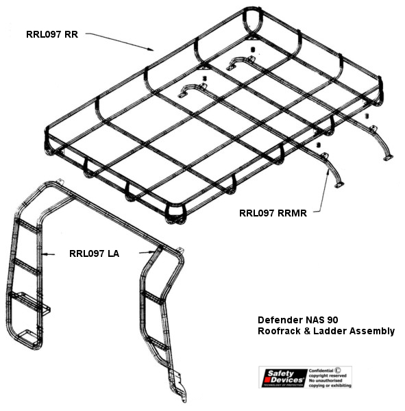 Defender 90 full roof rack by Safety Devices
