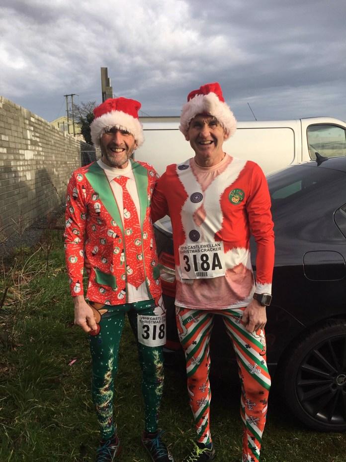 John Kelly Newcastle AC and Dee Murray East Down AC al enjoying the fun at the Christmas Cracker on Saturday in Castlewellan