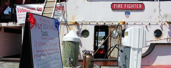 The fireboat Fire Fighter at Greenport earlier this summer.