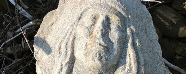 One of E.A. Brooks' carvings on the Long Island Sound shore