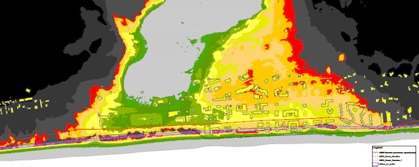 Flood inundation map for downtown Montauk.
