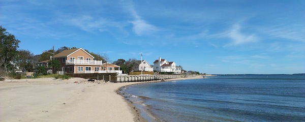 The Peconic Bay, pictured here in South Jamesport, is full of water. This is proving to be a problem as Long Island's nitrate-enriched groundwater seeps out into the bay.