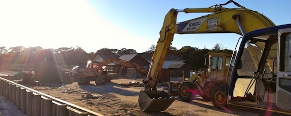 Rebuilding Veterans Beach in Mattituck this week.