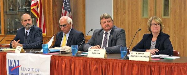 East Hampton Town Board candidates prepare for the debate: (l-r) Job Potter, Dominick Stanzione, Fred Overton, Kathee Burke-Gonzalez