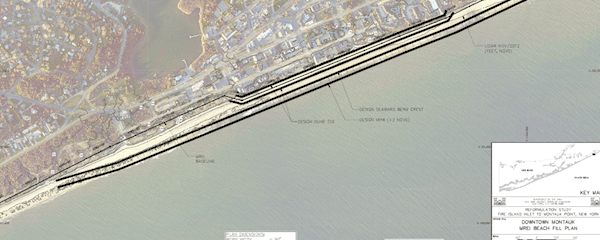 A plan to place stone between downtown Montauk and the ocean and cover it with sand is one of just two of the Army Corps' five options that East Hampton Town is considering | Courtesy Army Corps of Engineers