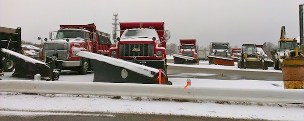 Southold Highway Department trucks stood ready to clear snow last week. Town employees have been working under an expired contract since the start of the year.