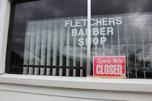 Fletchers Barber Shop is closed Saturdays.