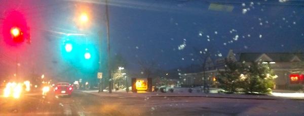 Snowy morning, dawn commute