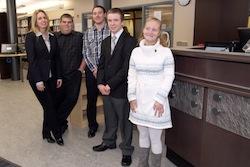 RHS Media Specialist Kim McGurk with her student interns: (L-R) Steven Chastaine: Tyler Allen, Matthew Card and Taylor Schumacher.
