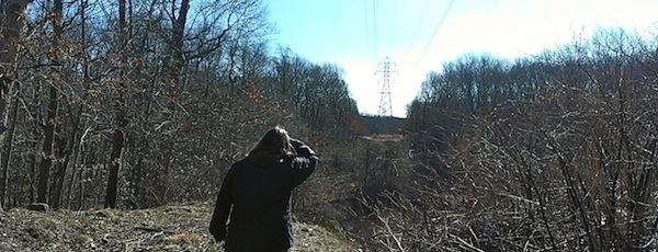 Dai Dayton along the power lines, where motorbikes and ATVs enter the Long Pond Greenbelt in Bridgehampton