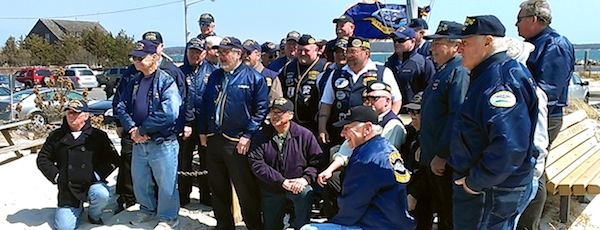 Submariners from the U.S. Submarine Veterans L.I. Base gathered at New Suffolk Beach on Sunday for a ceremony honoring their fallen comrades on the 114th Anniversary of the founding of the first U.S. submarine base in the country at New Suffolk on April 11, 1900.