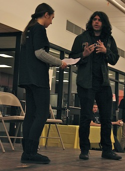 "Student Actors Olivia Terry and Lorenzo Rodriguez discuss Mr. Rodriguez's character's diagnosis of bipolar disorder in the sketch ""Misunderstood"" at Southampton High School Saturday."