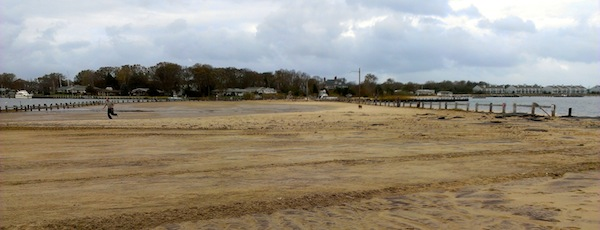 The parking lot at Klipp Park by Gull Pond in Greenport the day after Superstorm Sandy.