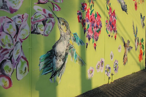 Caitlyn Shea's hummingbird mural will remain downtown long after JumpstART! is over.