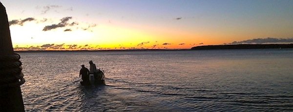 Fishermen headed out of New Suffolk at dawn Monday for the opening day of scallop season.
