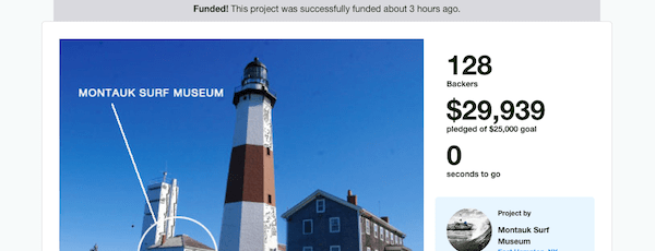 The Montauk Surf Museum's Kickstarter campaign reached its $25,000 goal on Wednesday.