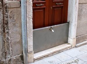 Venetian flood door.