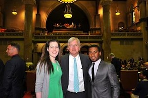 State Assemblyman Fred Thiele welcomed Southampton High School students Sarah Pierson and William Reddick to the Assembly Chamber on May 18.