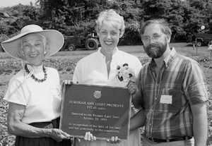 With John Halsey, President of the Peconic Land Trust, and Lucy Bradley at the dedication of the Deborah Ann Light Preserve, 1995