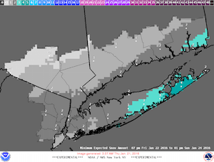 NWS minimum potential snow accumulation map generated 3:37 a.m. Jan. 21