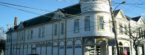 The former Greenport Auditorium, now home to Goldin Furniture. GoFundMe photo