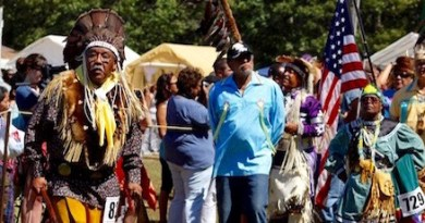 Shinnecock tribal leaders lead the grand entrance procession at the 2015 Shinnecock Powwow